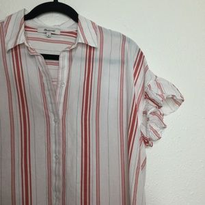 Madewell Tops - Madewell White and Red Striped Button Down Tee M